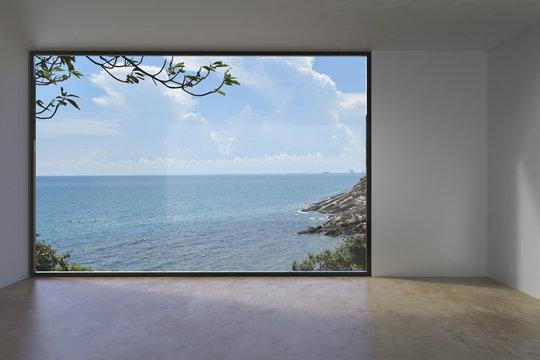 Living Indoor Empty loft Concrete on Sea view