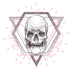 Skull with geometric abstract elements. Hand Drawn Illustration