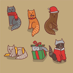 Vector set of six christmas cats sitting, eating, sleeping, playing and getting ready for walk.