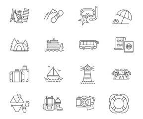 Travel and vacation set of vector icons