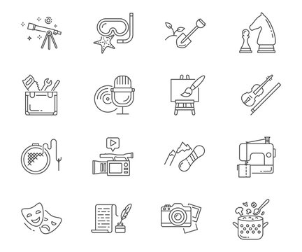 Hobbies set of vector icons