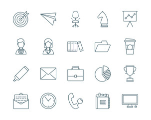 Office and business set of vector icons
