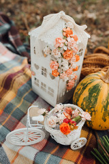 Autumn decoration with pumpkins. Beautiful photo zone