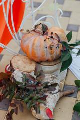 Autumn decoration with pumpkins. Beautiful photo zone