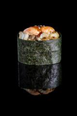 Gunkan maki sushi with salmon isolated on black background