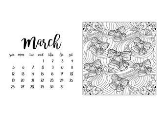 Desk calendar horizontal template 2017 for month March. Week starts Sunday