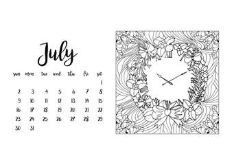 Desk calendar horizontal template 2017 for month July. Week starts Sunday
