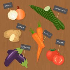 Veggies Set 1 (onion, cucumber, potato, eggplant, carrot, tomato) Vector