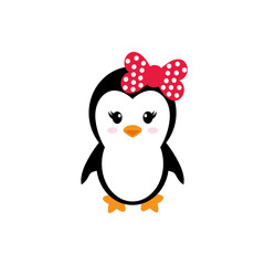 cute penguin girl on a white background
