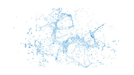Isolated blue splash of water splashing on a white background. 3