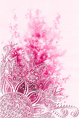 Symbolic Flowers and Leafs, Abstract Floral Outline Ornament on Hand-Draw Watercolor Painting Background