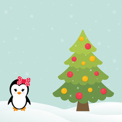 cute penguin girl with snow and fir tree