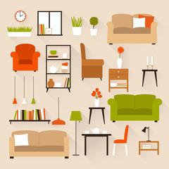 Vector set of furniture of living room, Flat design