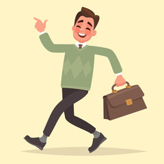 Happy businessman with briefcase goes . Vector illustration in a