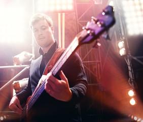 Bassist on stage.