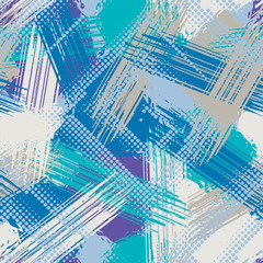 Abstract grunge seamless chaotic pattern with brushstrokes. Urban winter camouflage texture. Season colorful background. Modern wallpaper. Fashionable print with a shabby paint effect.