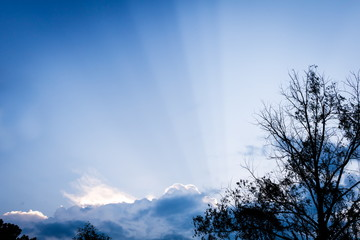 Cloud Shadow, Crepuscular Rays in blue sky