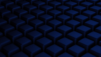 Black abstract background with blue cubes, 3d illustration, 3d r