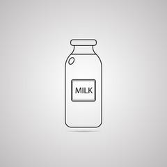 Векторная иллюстрация иконка простой символ плоский для веб milk молоко бутылка молока