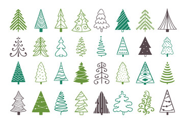 Christmas trees cute decoration elements. Fir trees on white background