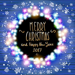 vector merry chrismas and Happy new year 2017. Glowing White Christmas Lights Wreath for Xmas Holiday Greeting Cards Design. Wooden Hand Drawn Background. art