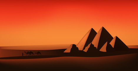 egyptian vector landscape - desert, pyramids and camels at the sunset