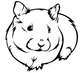 cute hamster (Cricetus) vector illustration - black and white outline