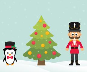 cute penguin with christmas fir tree and cartoon nutcracker