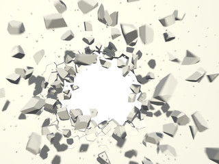 Wall explosion with white copy space background.