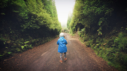 Little girl with blue jacket walking on the foggy wood