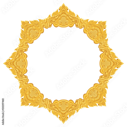 Gold Foam frame carving craft isolated on black background\