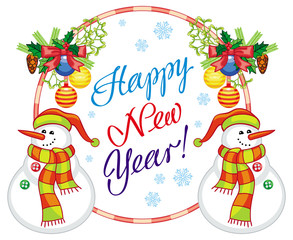 """Winter holiday label with snowman and greeting text: """"Happy New Year!""""."""
