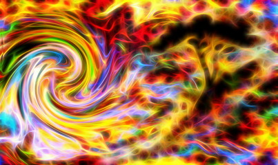 abstract tree silhouette with multicolor background and fractal effect. Swirl effect.