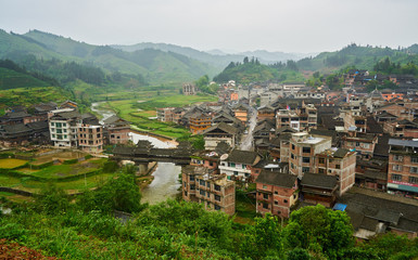 Minority Dong village of Sanjiang, Province of Guangxi, China