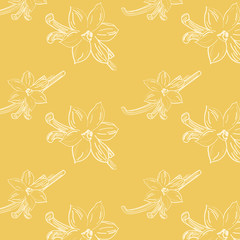 Sketch of vanilla flower on light-yellow background square composition