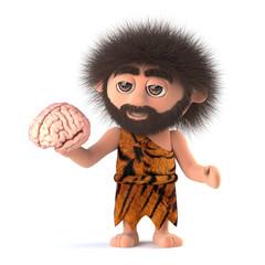 3d Funny caveman has a brain