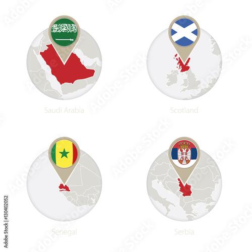 Saudi Arabia Scotland Senegal Serbia Map And Flag In Circle - Senegal map vector