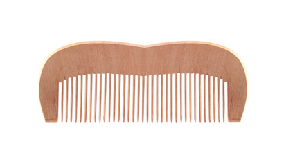 Wooden comb isolated on white background
