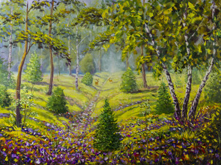 Original oil painting of pine trees and bushes, beautiful meadow flowers on canvas. Modern Impressionism Art. Impasto artwork.
