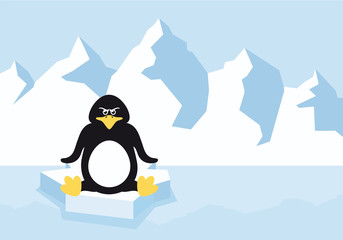 Cartoon penguin on a ice floe. Cartoon Character penguin. Vector illustration of an angry penguin