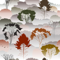 Seamless vector pattern. Top view of an autumn forest with deciduous trees in the fog. About the environment, nature, travel. Mysterious landscape.