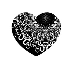 The heart vector. Valentine's day. A symbol of love. Grunge texture. Ornate pattern. Valentine. Wedding. symbol. Card