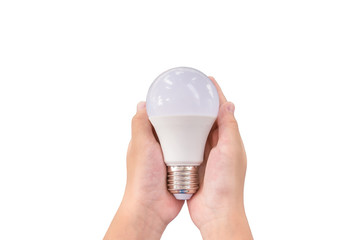 Closeup LED lighting bulb in hands isolated on white background, Concept for energy saving.