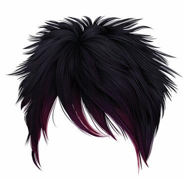 trendy woman short  hairs  black pink  colors .  long fringe . fashion beauty style . emo Japanese .