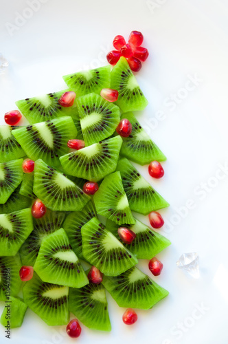 Christmas Tree Top View.Kiwi Christmas Tree On White Background Isolated Top View