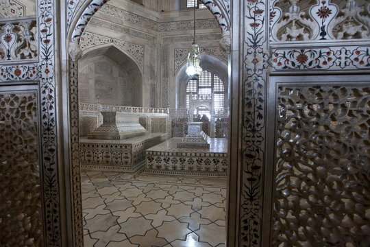 The Taj Mahal mausoleum marble tomb caskets of Shah Jahan and Mumtaz Mahal , Uttar Pradesh