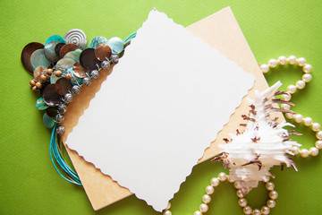 bright background with shells and silk