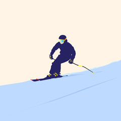 The mountain skier on descent