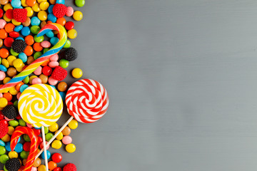 Colorful candies,Top view