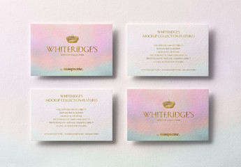 Four Luxury Business Cards with Gold Embossing Mockup 1